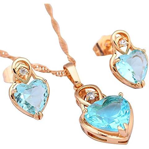 Regalo Zirconia Cubica Blu Topazio Acquamarina Ciondolo/orecchini placcati in oro giallo 18K set di gioielli per Donna S217