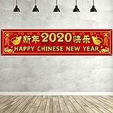 Pancarta de 2020 Año Nuevo Chino Decoración de Fiesta de Año de Rata Adornos de Celebración de Festival de Primavera Rojos para Interior y Exterior