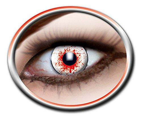 Karneval Klamotten Kontaktlinsen farbig rot-weiß Farblinsen 3-Monatslinsen Motiv-Linsen blutiges Auge Halloween Fasching Blut OHNE (Erwachsene Tierische Für Kostüme Halloween)