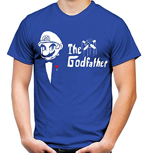 Mario Godfather Männer und Herren T-Shirt   Mafia Kult Retro der Pate Geschenk (XXL, Blau)