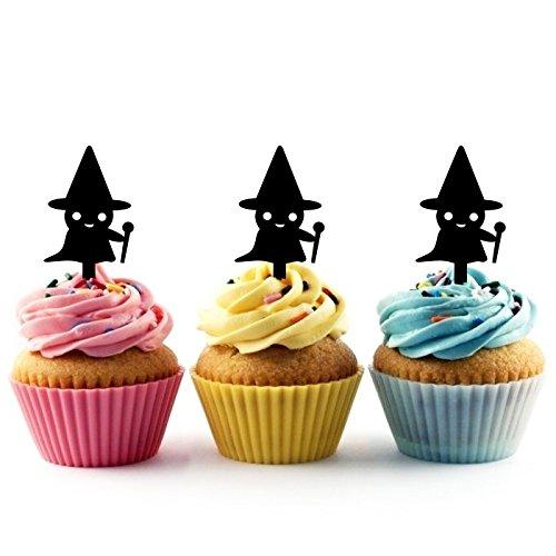Innovedesire Halloween Witch Kuchenaufsätze Hochzeit Geburtsta Acryl Dekor Cupcake Kuchen Topper Stand für Kuchen Party Dekoration 10 Stück