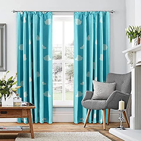 H.Versailtex Printed Blackout Pencil Pleat Pair Light Reducing Microfiber Curtains, Thermal Insulated & Warm Protecting, Blackout Sky Blue Cloud kids Pattern, 46'' Width x 54'' Drop
