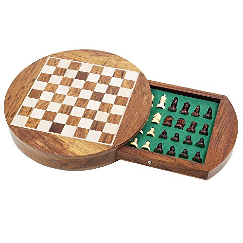 Store Indya New Year Gift Wooden Magnetic Chess Staunton Set with Storage Compartment & Green Felted Foam Case Classic Game