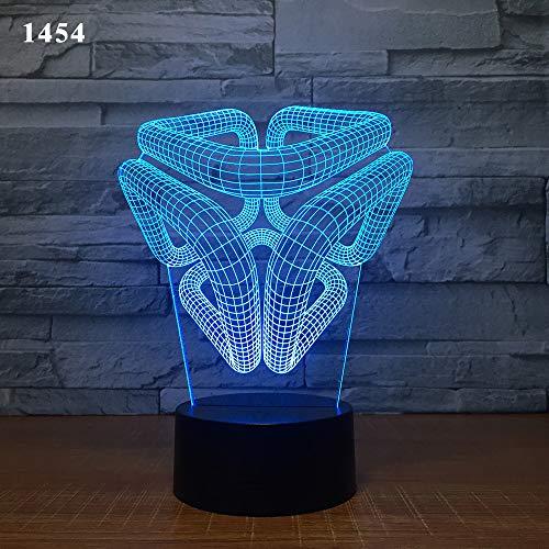 3-D lampe télécommande sept couleurs tactile led lampe Creative Products cadeau nuit lampe résumé anneau, mille quatre cent cinquante-quatre