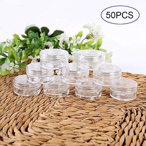AoJuy 50 STK. 3er Set/5g Kosmetik Leer Flasche Kreisformig Plastik Durchsichtig Probe Krüge Töpfe für Glitzer/Nail Art/Creme - 3g 50pcs