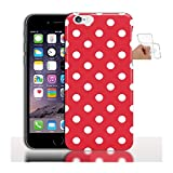 My-Coque Coque Gel iPhone 6s, 6 Rouge Pois Blancs - Housse TPU Silicone de Protection