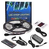 Simfonio LED Strip 5m - LED Stripes 5m Wasserdicht 5050SMD 150 LED RGB Strip Full Kit - LED Streifen mit Remote Controller und Netzteil