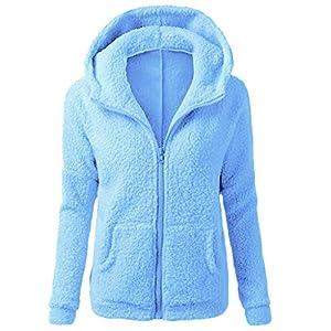 serliy😛Damen Plüschjacke mit Kapuze Winter Cardigan Langarm Mantel Outwear Strickjacke Teddy-Fleece Kapuzenjacke Trench…