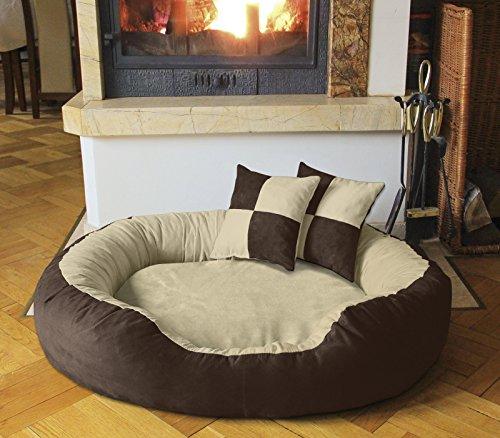 BedDog Hundebett PRINS / großes Hundekörbchen aus Microfaser-Velours / waschbares Hundebett mit Rand / Hundekissen oval-rund / für drinnen & draußen / XL / MELANGE-D / beige-braun