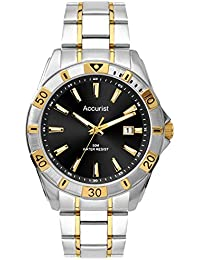 Accurist Men's Quartz Watch with Black Dial Analogue Display and Two Tone Gold Plated Bracelet Mb854B