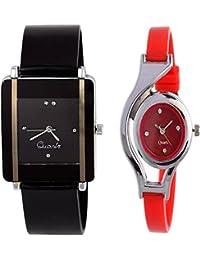 Maan International New Fancy Desinger Balck & Red Analogue Women Watch