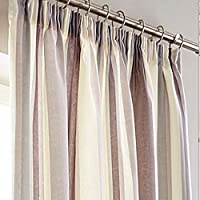 """Printed Vertical Stripe Purple Grey Cream Lined 90"""" X 90"""" - 229cm X 229cm Pencil Pleat Curtains from Curtains"""