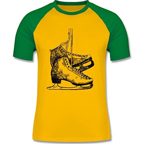 Wintersport - Schlittschuhfahren - zweifarbiges Baseballshirt für Männer Gelb/Grün