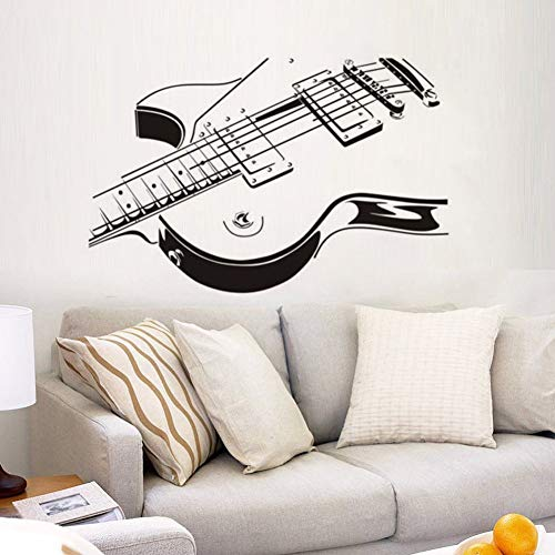 WWYJN Guitar Wall Stickers Music Art Wall Decal Home Decorations Guitar Design Removable Wallpaper Musical Instrument Wall Art97x57cm
