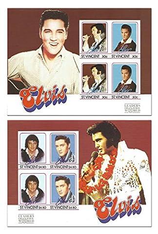 Elvis Presley Stempel für Sammler-Set mit 2 Blatt zum Gedenken an den König.