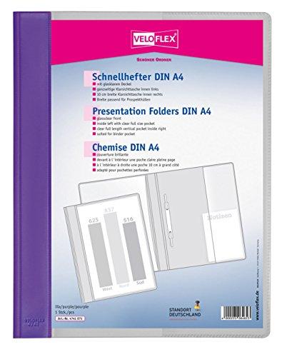 Veloflex 4741071 - Schnellhefter Veloform A4 aus PVC mit glasklarem Vorderdeckel, lila