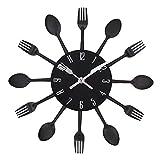 Samtlan - Horloges murales créatives / Home DIY Decoration Watch / Stainless Steel Knife and Fork Assorted Living Room 3D Wall Design(Noir)