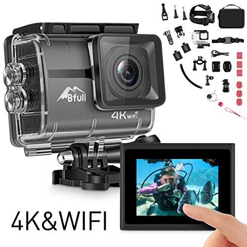 BFULL Touchscreen mit Action Cam 4K Ultra Full HD Unterwasserkamera 20MP Wifi Action Kamera Wasserdicht Sport Helmkamera 170° Weitwinkel mit 2 Akku und kostenloses Zubehör Kits