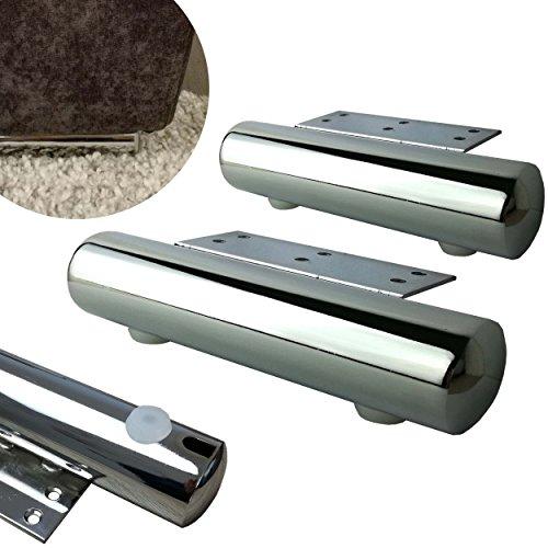 Sofa-fuß (4x Möbelfüße aus Metall (Chrom) - vielseitig einsetzbare Füße für Möbel Sofa Schrank Tisch - verschiedene Größen (17,5cm))