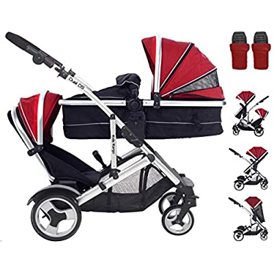 Kids Kargo Duel DS R. Includes 2 Footmuffs & 2 Rain-Covers. Red Double Tandem Pushchair