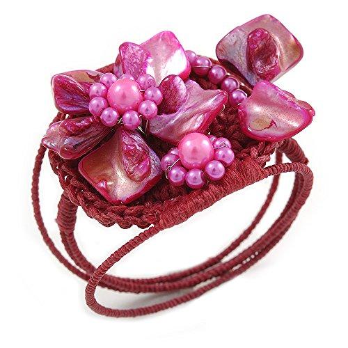 Pink Shell (Unbekannt Silberton Fuchsia Pink Shell Bead Blume Draht Flex Armband-Verstellbar)