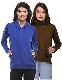 Purys Solid Sweatshirt & Solid Jacket Combo
