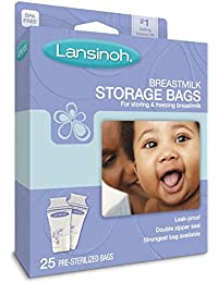 Lansinoh breastmilk Storage Bags, de 25Count Boxes (Pack of 3) Size: Pack of 3