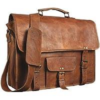 Shakun Leather Echtes Ziegenleder Vintage Braune Umhängetasche Laptoptasche, NEU