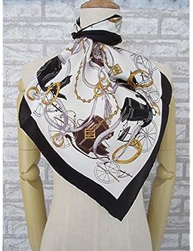 La mujer Blanco&Negro pequeño carro 100% satén de seda bufanda cuadrada