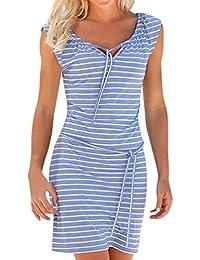 LILICAT® Boho Stripe vestido largo maxi para mujer, vestido casual de manga corta Elegante