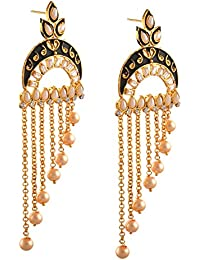 Zephyrr Jewellery Traditional Gold Tone Dangle Earrings With Pearl