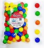 Koenig-tom - Bälleset- 100 bunte Plastikbälle Babybälle Bälle 6cm für Bällebad Bällchenbad ohne gefährliche Weichmacher