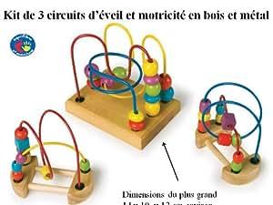 Lot de 3 bouliers - circuits de motricité bois et métal découverte pour petites mains