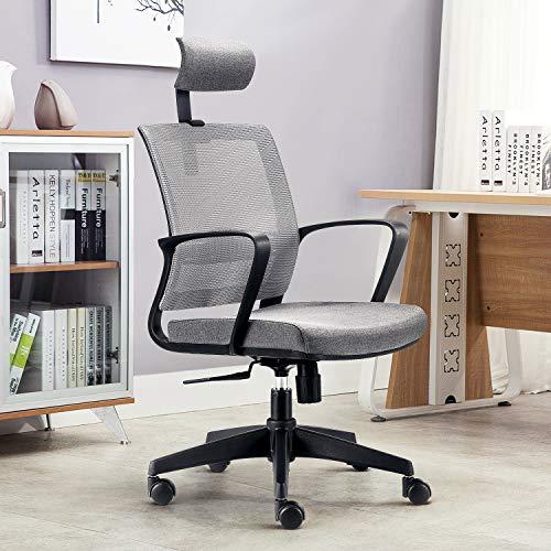 amzdeal Bürostuhl Ergonomischer Schreibtischstuhl Drehstuhl mit Verstellbaren Sitzhöhen und Kopfstütze,Höhenverstellung und Wippfunktion (Grau)