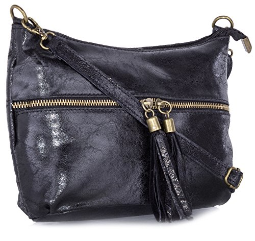 Big Handbag Shop Womens tasca frontale in vera pelle nappa lunga estrattore bag Black
