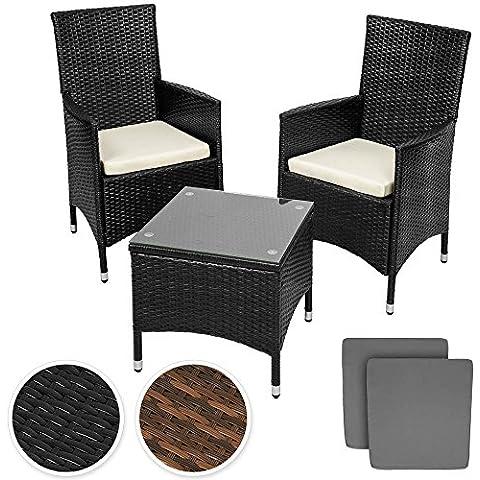 TecTake Conjunto muebles de Jardín en Aluminio y Poly Ratan Sintetico negro 2 plazas, 2 sillones, 1 mesa baja + 2 Set de fundas intercambiables - disponible en diferentes colores -