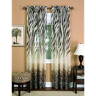 Achim Home Furnishings Kenya Curtain Panel, 50-Inch by 84-Inch, Brown