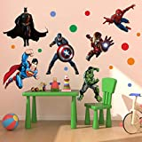 #10: Creatick Studio 'Wall Stickers For Bedroom Kitchen' Wall Decal ' Super Hero League '(44*31 Inch)