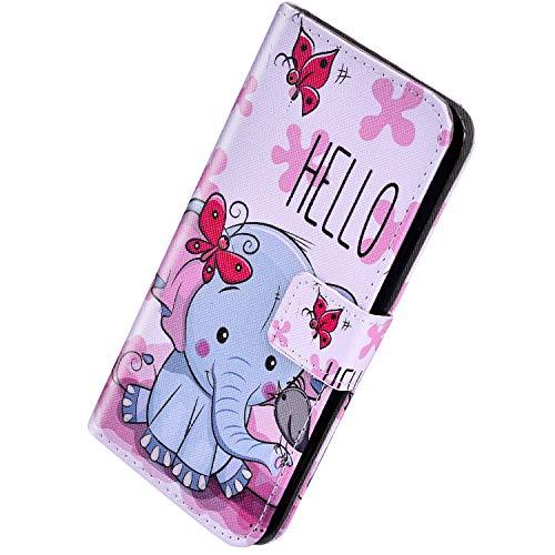 Herbests Kompatibel mit Samsung Galaxy A20 / A30 Handyhülle Handytasche Leder Hülle Retro Bunt Muster Schutzhülle Flip Case Leder Tasche Wallet Hülle Kartenfächer Magnet,Schmetterling Elefant