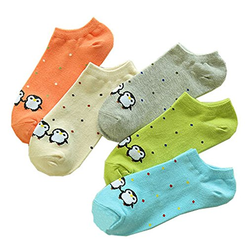 Mode 5 Paare Frauen/Mädchen Bunte No Show Socken Socken, J
