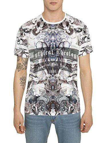 Da Uomo Designer Fashion Vintage Rock Crew T Shirt di Cotone, Maglietta Bianca con Maniche Corte e Girocollo, Maglia con Stampa KING EAGLE Magliette Trendy Tattoo Style, Moda Urban Cool S M L XL XXL