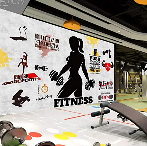 Fototapete 3D Fitness-Übung Vlies Wand Tapete Wandbilder Moderne Wanddeko für Wohnzimmer Schlafzimmer Büro Flur Dekoration 300CMx210CM