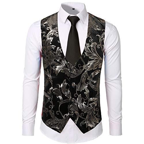 JYJM 2019 Herren Mode Business Casual Gold Stamping Druck Weste Tops Weste Oversize Doppel Farbig Herren Slim-Fit Crew Neck Basic T-Shirt Rundhals Herren Club Embroidered Futura T-Shirt
