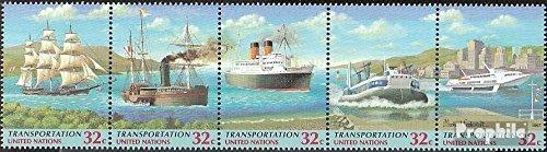 Prophila Collection UNO - New York 741-745 Fünferstreifen (kompl.Ausg.) 1997 Verkehrswesen (Briefmarken für Sammler)