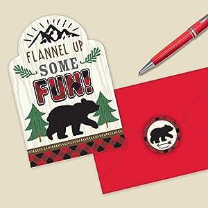 Amscan International 492150 - Papel de papelería, tarjeta de invitación para cumpleaños, diseño de Lumberjack