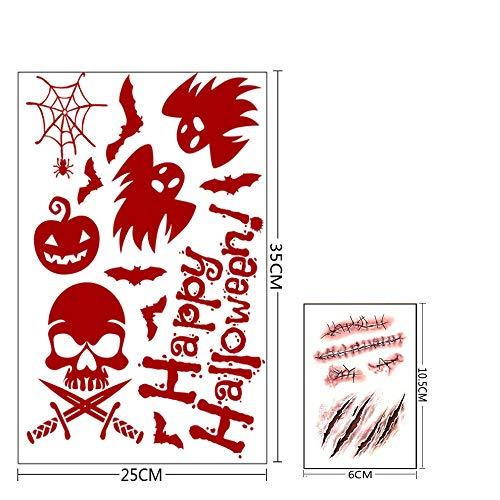 V-RULE Halloween Dekoration Set- Zombie Scars Temporäre Tattoos (11 Blatt) - Halloween Blut Drucke Fenstersticker - Halloween Spinnweben - Halloween Ballone Party - 6