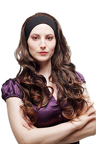 WIG ME UP - Haarteil Halbperücke Perücke fest an elastischem Stirnband lang gelockt Braun Mix H9308-2T30 65 cm