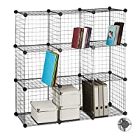 Relaxdays Modular Grid Shelf, 9 Compartments, DIY Shelving System, Metal, Open Cube Rack, Various Sizes, Black
