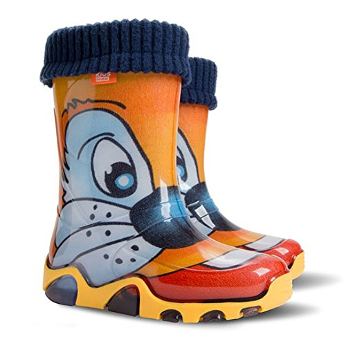 Childrens Wellington Boots Wellies Rainy Shoes Kids All UK Sizes - Tiger Orange