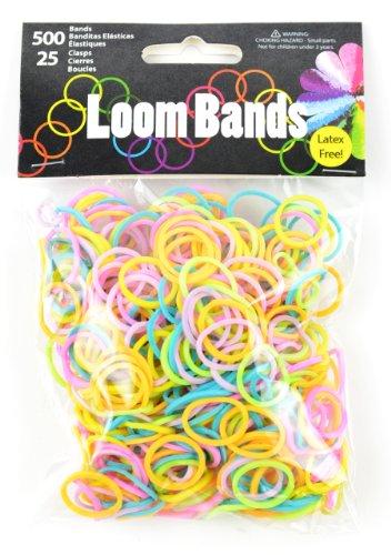 Touch of Nature 500Value Pack Loom Bands, Sortiert, inkl. 25Kunststoff Schnallen, Pastell grün/orange/pink/violett/gelb/türkis -